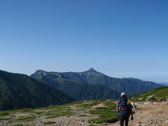 白砂の台地周辺、笠が岳が見える